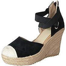 Mujer Alpargatas de Plataforma, Mujeres Zapatos de Elegantes de Boda de Fiesta Sandalias Plataforma de
