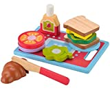 KIDS TOYLAND Holz Sandwich-Making Set Spielen Lebensmittel Set für Kinder - Rollenspiel Learning Ausbildungs Küche Spielzeug Frühstück für Kleinkinder Handbemalte Holzstücke (13 Stück)