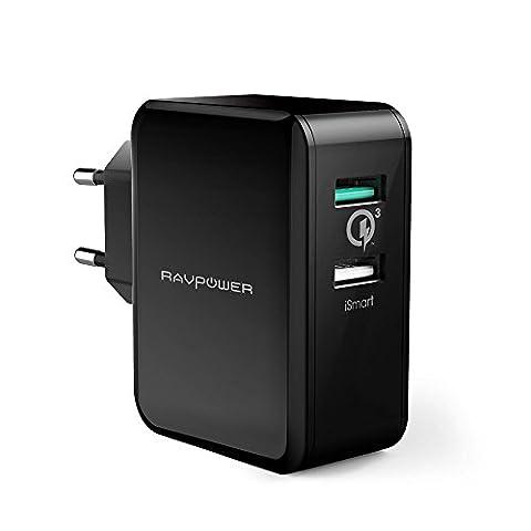 RAVPower Quick Charge 3.0 30W Chargeur Secteur USB 2-Port USB Adaptateur Secteur USB Mural avec QC 3.0 Recharge Jusqu