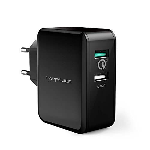 Foto Quick Charge 3.0 Caricabatterie USB da Muro RAVPower Alimentatore USB Caricatore Due Porte USB 30W QC 3.0 per iPhone, iPad, Galaxy S6 Edge, HTC One A9, Note 5, Nexus 6, Smartphone e Tablet Vari - Nero