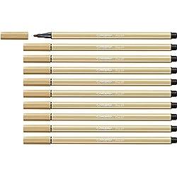 Feutre de dessin - STABILO Pen 68 - Lot de 10 feutres pointe moyenne - Ocre clair (68/88)