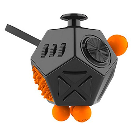 Fashion Fidget Cube 2 12-Side Fidget Cube Spinner Toy Stress Anxiety Relieves Stress and Anxiety and Relax for Children and Adults with ADHD ADD OCD Autism (Black$ Orange)
