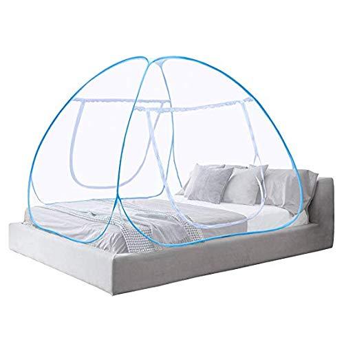 Zenguen Pop-Up-Moskitonetz, tragbare Bettzeltnetze Freistehende Kinderbetten Moskitonetz (Blau)