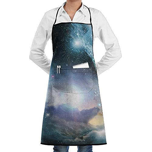 Nebula Kostüm Space - Space Nebula Galaxy Star Schürze Lace Adult Mens Womens Chef Adjustable Polyester Long Full Black Cooking Kitchen Schürzes Bib With Pockets For Restaurant Baking Crafting Gardening BBQ Grill