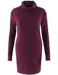 zeela Damen Herbst Elegant Pullover Kleid Lang Rollkragenpullover  Strickkleid mit Taschen fe1660bc7c