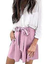 Pantalones Corto Mujer Suelto Cintura EláSticaBowknot Verano Deporte Ajustados Cintura Alta Short Yoga Pantalones