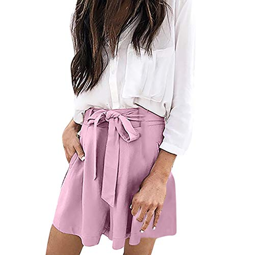 WOZOW Damen Shorts Kurze Hose Solid Kordelzug Zug Tie Bequem Smooth Casual Workwear Lose Loose A Line High Waist Rüschen Trousers Pocket Summer (Old School Halloween Kostüme Box)