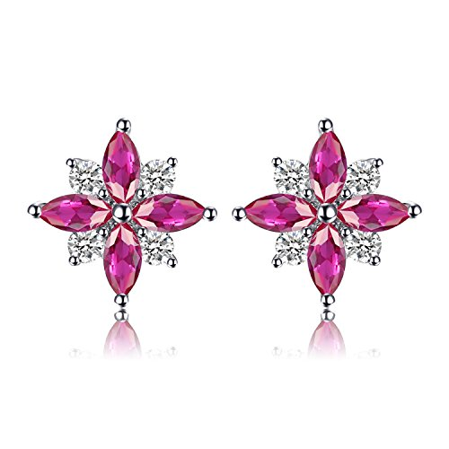 JewelryPalace Flowers 0.9ct Erstellt Ruby Ohrstecker 925 Sterling Silber