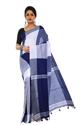 Avik Creations Women's Banarasi Handloom khadi Cotton saree Blue White