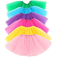 Hikong 6pcs Tutu Gonne Balletto di Tulle 3 Strati Sottoveste Bambini Ragazza Principessa Vestito da Ballo Petticoat Costume Danza (3pcs, 2-5 anni)