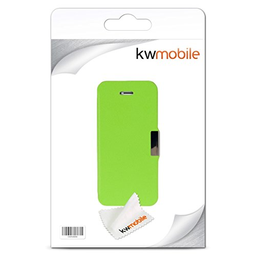 kwmobile Housse flip case pour Apple iPhone SE / 5 / 5S - Étui de protection rabattable style flip cover en noir gris transparent .vert