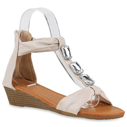 Damen Sandaletten Keilabsatz Metallic Strass Sommerschuhe Wedges Creme Creme