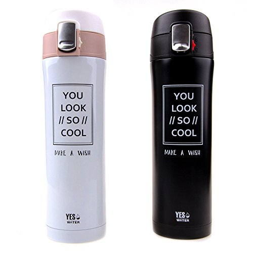 MKKM Korea Creative Bouncing Thermos Cup Straight Drink Stainless Steel Car Kettle Men'S Sports Fitness Water Bottle,White,500ml