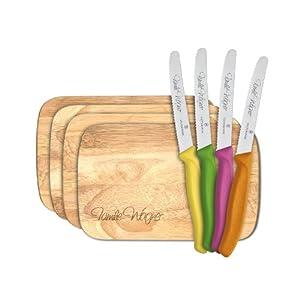 8-tlg. Frühstücksset mit Wunschgravur, 4 Victorinox Brötchenmessern bunt + 4 Holzbrettchen (Bretter aus Gummibaumholz)