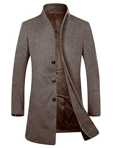 APTRO Herren Mantel Schurwolle Business Lange Winter Mantel Braun