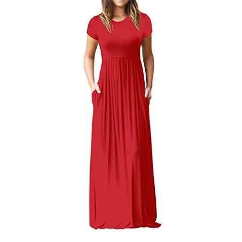 ESAILQ Damen Gestreift Lange Boho Kleid Lady Beach Sommer Sundrss Maxikleid(L,Rot) (London Shirt Kleid Gestreiften)