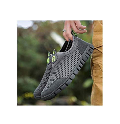 HOTSTREE Men Casual Shoes Breathable Light Weight Mesh Male Shoes Comfortable Outdoor Big Size Sneakers Men Slip On Summer Men Shoes Silver 7.5 -