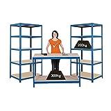 Mega Deal | Set aus 1x Werkbank (Tiefe 60 cm) und 2x Schwerlastregal (Tiefe 60 cm) | Metallregal Kellerregal Lagerregal Werkstattregal Garagenregal | Belastbar mit 1000 kg