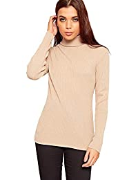 23d7d4504e95f4 Crazy Girls Womens High Rolled Polo Neck Ribbed Knitted Jumper Top Ladies  New Rib Knit Sweater