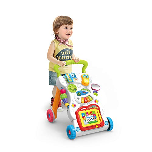 JINYJIA Primeros Pasos Bebé Actividad Andadores, Patrón Múltiple, Sentar & Jugar, Música Piano...