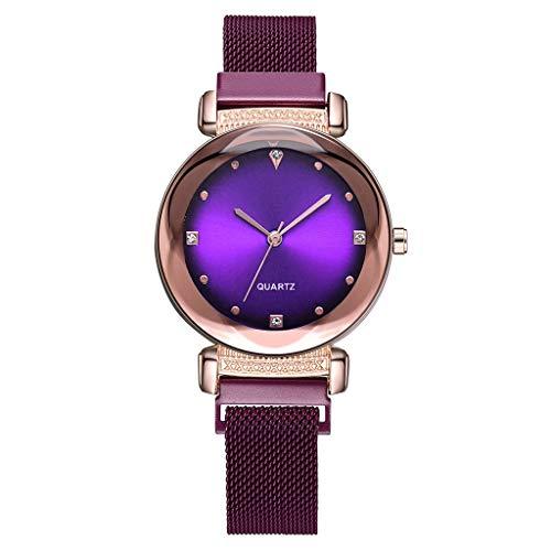 Frauenuhr Schlankes Minimalistisches Zifferblatt Aus Quarz Mit Magnetischer Schnalle Damen Uhren Mode Einfache Diamant Dial Uhr Damenuhr FriendGG (Lila)