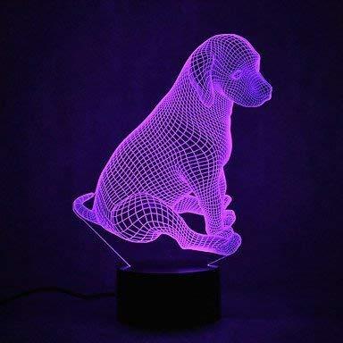 3D Chien Lampe Illusion Optique LED Veilleuse Optiques Illusions Lampe de Nuit 7 Couleurs Tactile Lampe de Chevet Chambre Table Art Déco Enfant Lumière de Nuit avec Cable USB