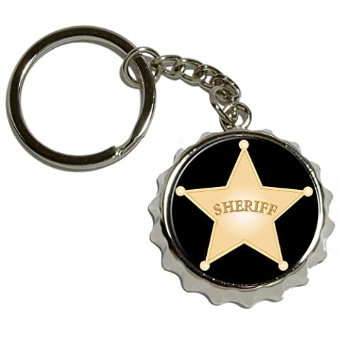 Sheriff Badge–en métal plaqué nickel popcap Décapsuleur Porte-clés