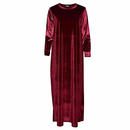 Comfiestyle - Robe - Maxi - Manches Longues - Femme Bordeaux
