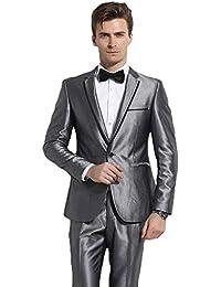YZHEN Hommes Costume 2 Pièces Décontracté pour Vestes et Pantalons ... 5e77706132a