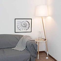 Trípode Lámpara de pie diseño escandinavo. Madera Blanco Marrón H 152cm E27Embudo pantalla plástico lámpara de pie salón sofá-Lámpara de pie