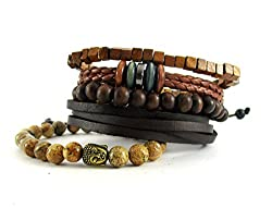 Streetsoul Bead Black With Charms (Stack Of 4 pcs.) 8mm Bead Bracelets For Men.