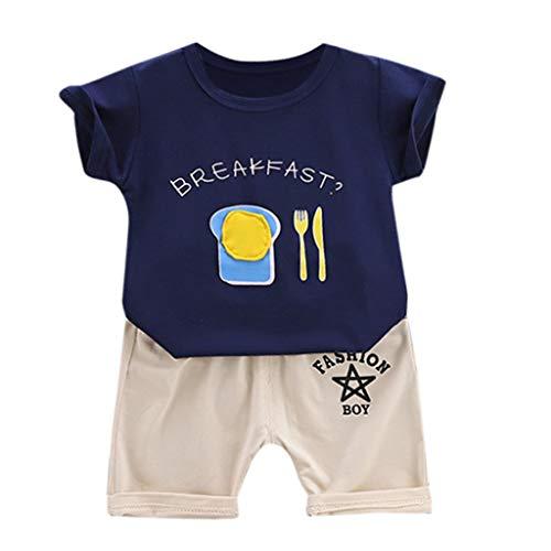 y Jungen Mädchen Kleidung Outfits Sommer Kurzarm Cartoon T-Shirt Tops Shorts Kleidung Set Freizeit Mode Sport-Outfit Cool Outdoor Babykleidung Süß Wild Outfits ()