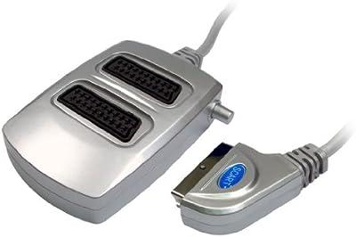 2 way plateadas euroconector interruptor caja de Cable divisor de señal , , Para uso con TV, DVD, VHS, Xbox, Freeview