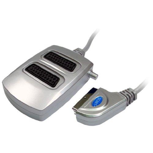 CDL Micro 2-Wege-Scart-Kabel Box Signal Splitter für TV/DVD/VHS/Xbox/Freeview-Silber Signal-splitter-kabel