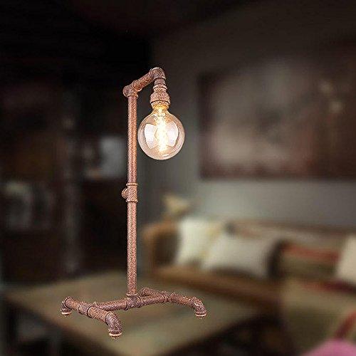 Aiehua Vintage Industrial Edison Tischlampe Steampunk Industrial Schreibtisch Lampe Antique Rustic Wasser Pipe Licht für Loft Study Schlafzimmer Bar Cafe Decor Schreibtisch Lampen Höhe: 62cm - Höhe Schreibtisch Bar