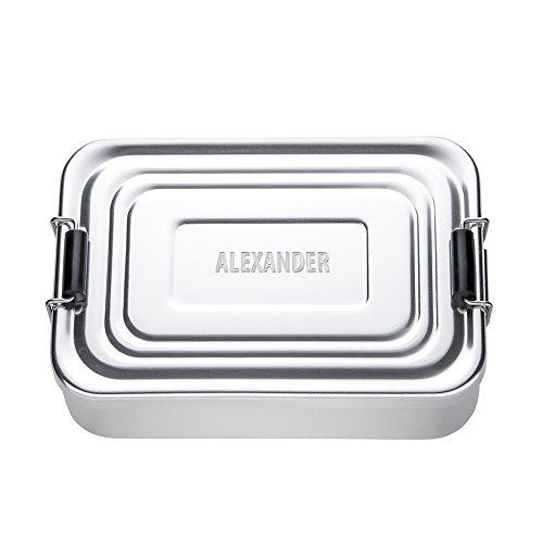 Preisvergleich Produktbild Brotdose aus Aluminium (poliert) mit Gravur - Eckig – Personalisiert mit Namen – Persönliche Lunchbox als Geschenk-Idee für Männer und Frauen – Geschenke für die Arbeit