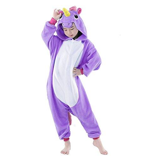 Cosplay Pyjama Kigurumi Enfant Unisexe Combinaison Animal Costume Ensemble Déguisement (XL, Violet)
