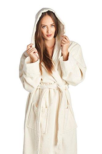 Herren- und Damen-Bademantel von High Style, 100% türkische Baumwolle, Knöchellänge, Schalkragen mit Kapuze Gr. X-Large, cremefarben (Hohe Knöchel-länge Unten)