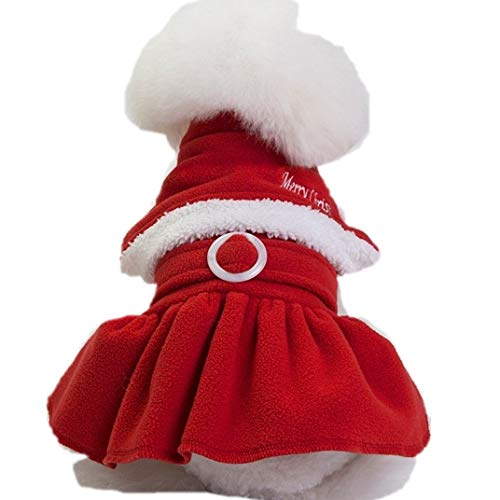 Pet Kostüm Tier - Eyxia- Pet Master Hund Katze Weihnachten Weihnachtsmann Kostüm, Lustige Haustier Cosplay Kostüme Anzug Welpen Fleece Outfits Warme Mantel Tier Festival Bekleidung Kleidung (Color : Skirt, Size : M)