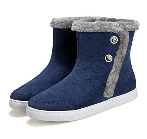 Western épais bottes de neige pour les fiancé et les amoureux chaussure de coton adulte mixte velours classique simple boots hiver Bleu