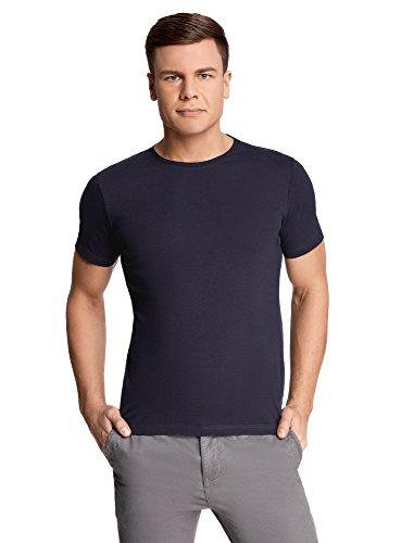 oodji Ultra Herren Gerades Tagless T-Shirt Basic, Blau, XL