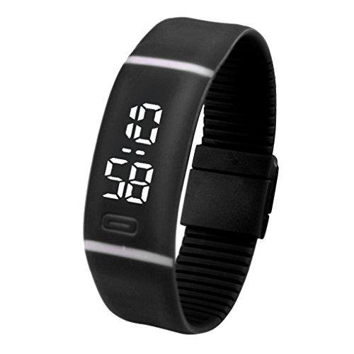 ZARU Deportes pulsera unisex de goma Fecha LED reloj de pulsera digital reloj de pulsera BK