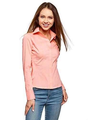 oodji Collection Damen Tailliertes Baumwoll-Hemd, Rosa, DE 44 / EU 46 / XXL