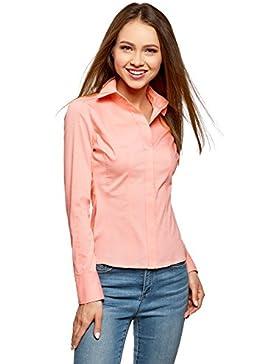 [Patrocinado]oodji Collection Mujer Camisa de Algodón Entallada