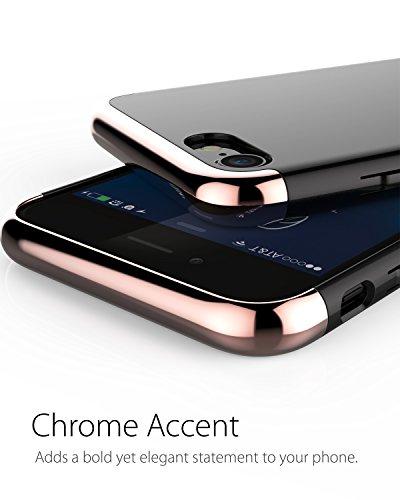 """Coque iPhone 7, Vena [Mirage][Chromé] Dock-Friendly Slim Fit Hard Case Cover pour Apple iPhone 7 (4.7"""") (Rose Gold) Noir/Rose Gold"""