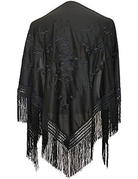 La Señorita Mantones bordados Flamenco Manton de Manila negro flores negro Large