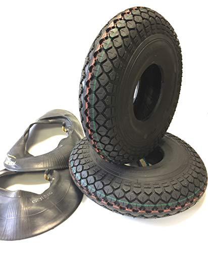 Lot de 2 pneus de fauteuil roulant 4.00-5 noir + 2 chambres à air coudé, pneus profilés de blocage puissants, stable 4 pneus, fauteuil roulant pour scooter, fauteuil roulant électrique de qualité