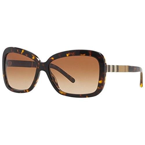 Burberry Unisex BE4173 Sonnenbrille, Mehrfarbig (Gestell: dunkles havana, Gläser: braun-verlauf 300213), Large (Herstellergröße: 58)