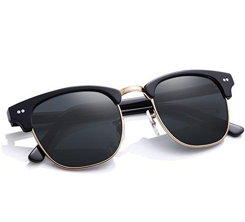 Carfia Vintage Sonnenbrille Club Stil Sonnenbrille für Damen und Herren, 100% UVA&UVB Schutz, Linsen aus Glas (E)