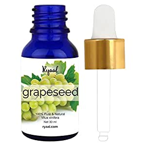 Grapeseed Oil by Ryaal - 30ML- 100% Pure, Natural & Cold-Pressed Grapeseed Oil - Ideal for Massage , Cooking and Aromatherapy- Rich in Vitamin A, E and K- Helps Reduce Wrinkles (30ML)